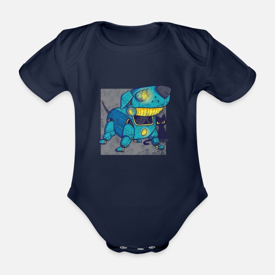 Robot Baby Clothes - Retro robot dog - Organic Short-Sleeved Baby Bodysuit dark navy