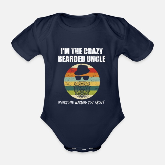 Birthday Baby Clothes - Retro - crazy bearded uncle - cool uncle - Organic Short-Sleeved Baby Bodysuit dark navy