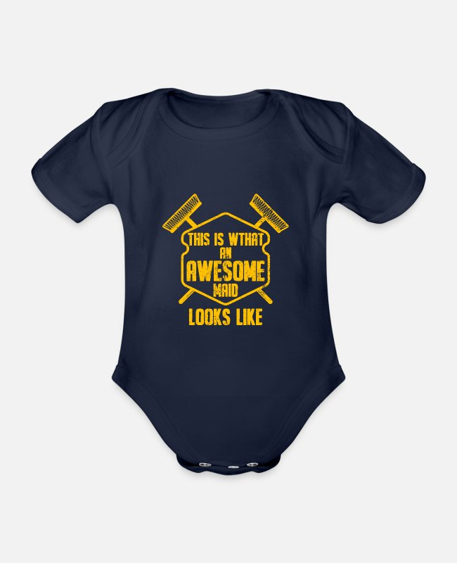 Clean Up Baby Bodysuits - Cleaning lady housewife cleaner cleaning household - Organic Short-Sleeved Baby Bodysuit dark navy