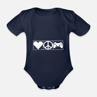 Leible Love, Peace and Gaming - Leibl Designs - Organic Short-Sleeved Baby Bodysuit
