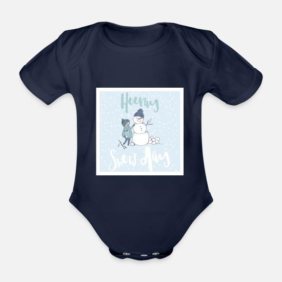 c51734bf Jul Babyklær - Snø Dag Hooray - Snø dag - Økologisk kortermet babybody mørk  marineblå