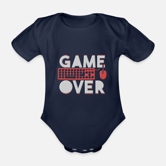Play Baby Clothes - Game Over - Organic Short-Sleeved Baby Bodysuit dark navy