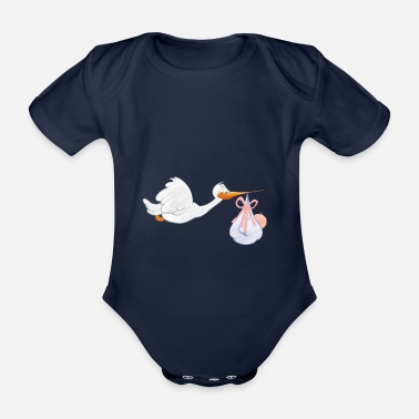Toddler Stork with toddler - Organic Short-sleeved Baby Bodysuit