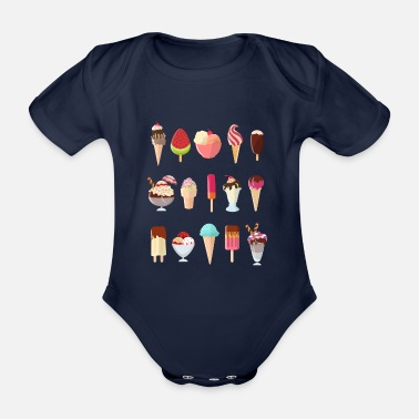 Summertime Summertime Yummy Kinds of Ice-Cream Refreshing - Organic Short-Sleeved Baby Bodysuit