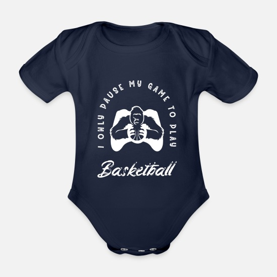 Dunking Baby Clothes - Basketball design for kids with basketball theme - Organic Short-Sleeved Baby Bodysuit dark navy