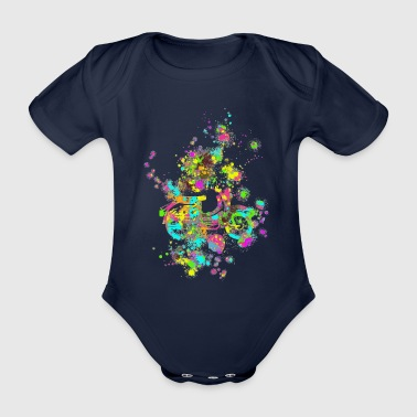 Swallow color splashes - Organic Short-sleeved Baby Bodysuit