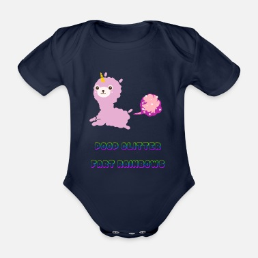 Ecuador Poop Glitter Fart Rainbows Unicorn - Organic Short-sleeved Baby Bodysuit