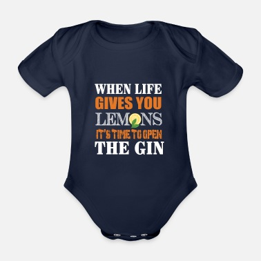 Surprise Gin Tonic Lemons Life Saying Fun Alcohol Party - Organic Short-Sleeved Baby Bodysuit