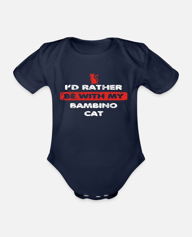 Stroke Baby Bodysuits - Cat Cat rather at my BAMBINO CAT - Organic Short-Sleeved Baby Bodysuit dark navy