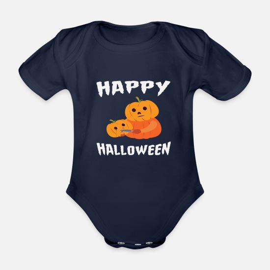 Festival Baby Clothes - Halloween Funny Pumpkin For Halloween Party - Organic Short-Sleeved Baby Bodysuit dark navy