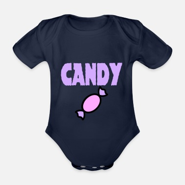 Candy candy sweet candy - Organic Short-Sleeved Baby Bodysuit