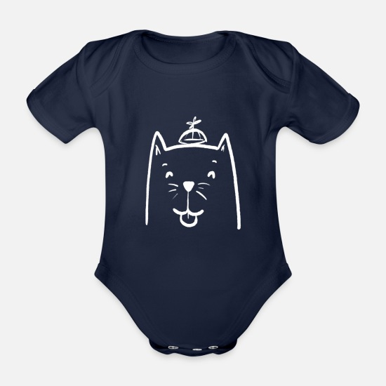 Gift Idea Baby Clothes - Funny cat - Organic Short-Sleeved Baby Bodysuit dark navy