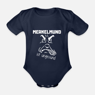 Reims Merkel's mouth is unhealthy - Organic Short-sleeved Baby Bodysuit