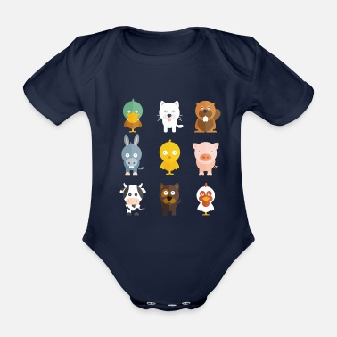 Animal Farm Animals - Organic Short-Sleeved Baby Bodysuit