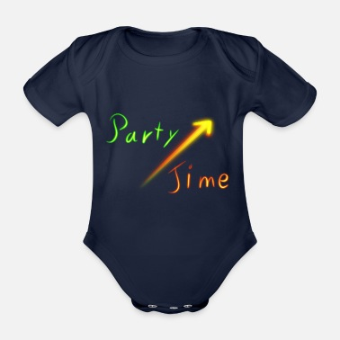 Neon Party Time Neon neon sign disco - Organic Short-sleeved Baby Bodysuit