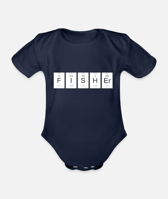 Chemistry Baby Clothes - Fisheries Chemistry Science Periodic Table Nerd Gift - Organic Short-Sleeved Baby Bodysuit dark navy