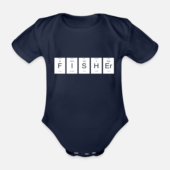 Chemistry Baby Clothes - Fisher Periodic Table Nerd Christmas Birthday Gift - Organic Short-Sleeved Baby Bodysuit dark navy