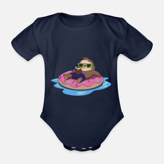 Haha Baby Clothes - Sloth chill summer - Organic Short-Sleeved Baby Bodysuit dark navy