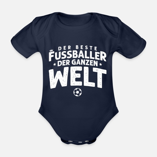 Soccer Baby Clothes - the best footballer saying - Organic Short-Sleeved Baby Bodysuit dark navy