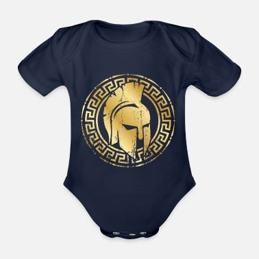 Gold spartan helmet gold - Organic Short-Sleeved Baby Bodysuit