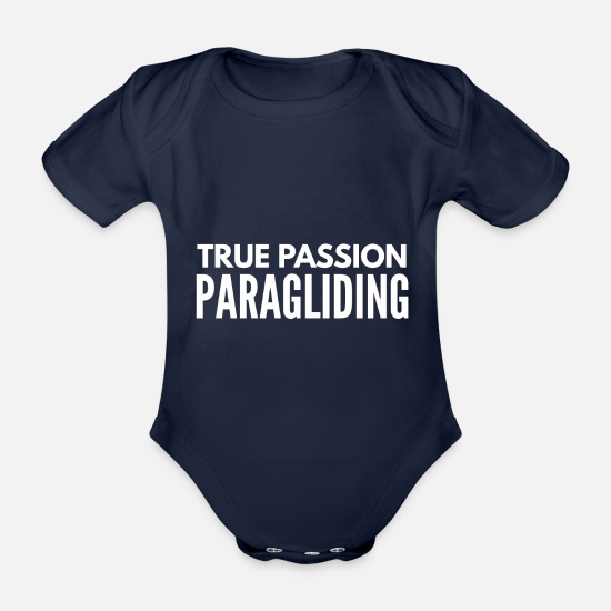 Gift Idea Baby Clothes - Paragliding paraglider and parachute gift 9 - Organic Short-Sleeved Baby Bodysuit dark navy