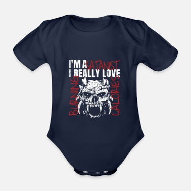Muscular I'm A Satanist I Really Love Burning Calories - Organic Short-Sleeved Baby Bodysuit