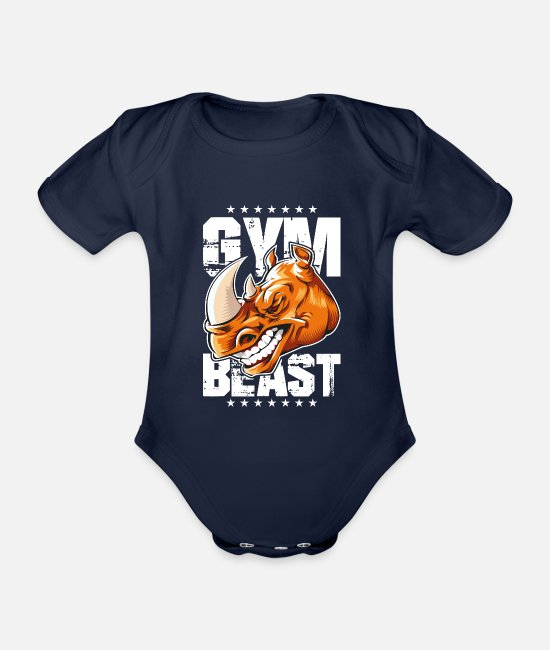 Fighter Baby Bodysuits - Rhinoceros gym beast - Organic Short-Sleeved Baby Bodysuit dark navy