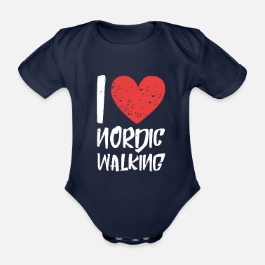 Walking Association I love Nordic Walking - Organic Short-Sleeved Baby Bodysuit