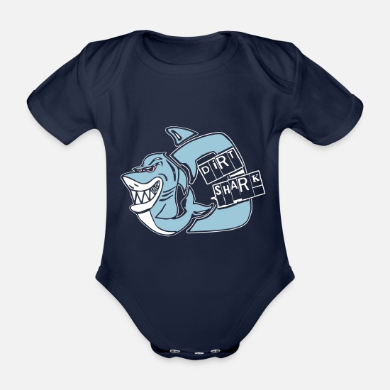 Shark Baby Clothes - dirt shark - Organic Short-Sleeved Baby Bodysuit dark navy