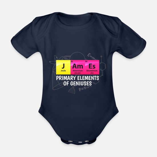 Physics Baby Clothes - James Primary Elements Of Geniuses Gift - Organic Short-Sleeved Baby Bodysuit dark navy