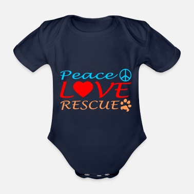 Original peace love rescue - Organic Short-sleeved Baby Bodysuit