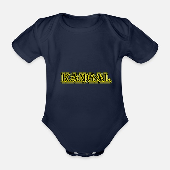 Kangal Baby Clothes - Kangal dog - Organic Short-Sleeved Baby Bodysuit dark navy