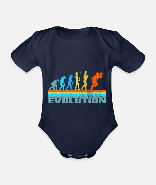 Colour Splash Baby Bodysuits - Paintball Evolution Retro Gift - Organic Short-Sleeved Baby Bodysuit dark navy