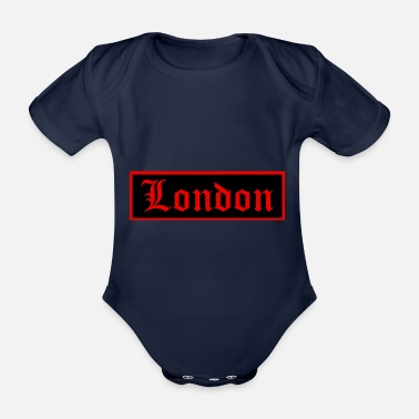 Uk London Black n red - Baby Bio Kurzarmbody