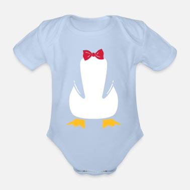 Funny penguin with bow tie - Organic Short-Sleeved Baby Bodysuit