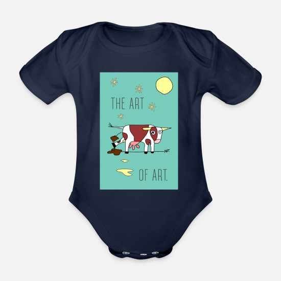 Art Baby Clothes - the ART OF ART - Organic Short-Sleeved Baby Bodysuit dark navy