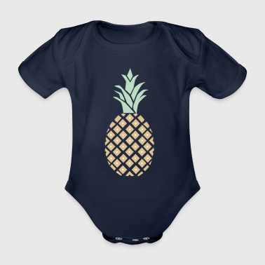 Pineapple with pattern - Organic Short-sleeved Baby Bodysuit