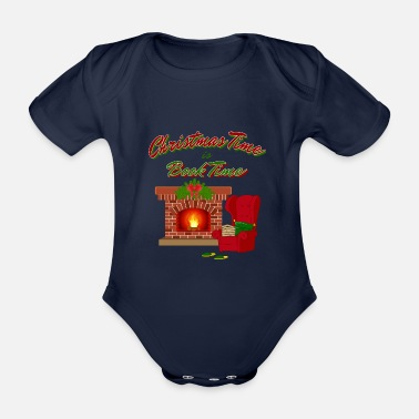 Lists Christmas time is book time - Organic Short-Sleeved Baby Bodysuit