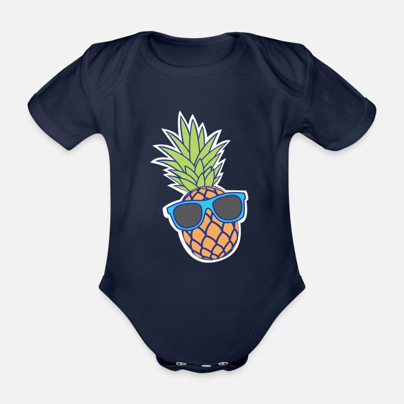 Cool Baby Clothing - pineapple with sunglasses - Organic Short-Sleeved Baby Bodysuit dark navy