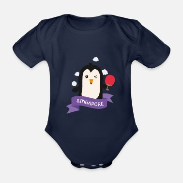 City Penguin table tennis from SINGAPORE Gift - Organic Short-Sleeved Baby Bodysuit