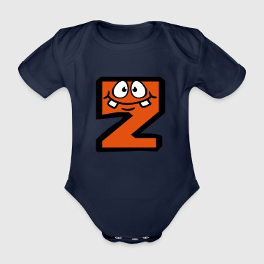 Z letter name write cartoon comic face l - Organic Short-sleeved Baby Bodysuit