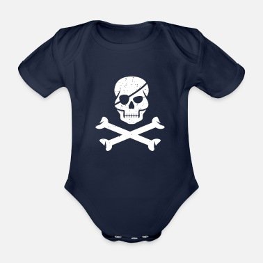 Birthday Pirates, Skulls, Vintage, Gift Ideas, Birthday - Økologisk kortermet babybody
