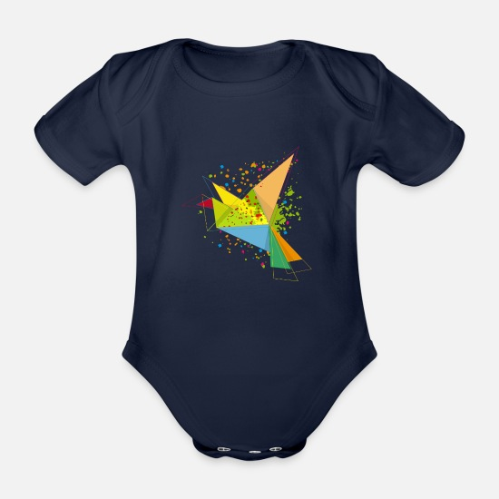 Graffiti Baby Clothes - A colorful origami bird - Organic Short-Sleeved Baby Bodysuit dark navy