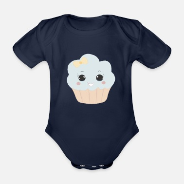 Beady Eyes Cute muffin with ribbon button eyes gift - Organic Short-Sleeved Baby Bodysuit