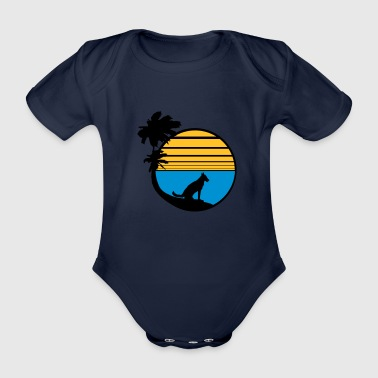vacation beach palm vacation sea sun sitting - Organic Short-sleeved Baby Bodysuit