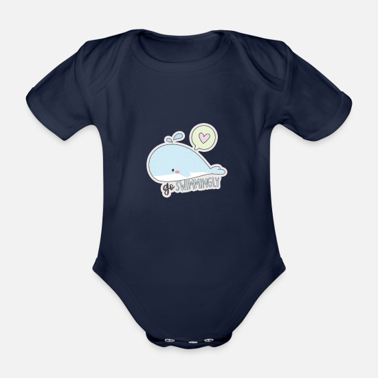 Love Baby Clothes - Whale love sea summer gift swimming holiday - Organic Short-Sleeved Baby Bodysuit dark navy