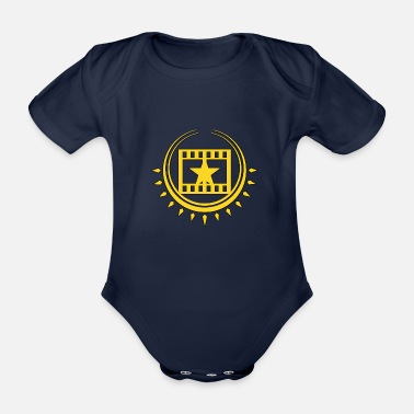 Cinema Cinema Cinema filmstrip with star - Organic Short-sleeved Baby Bodysuit