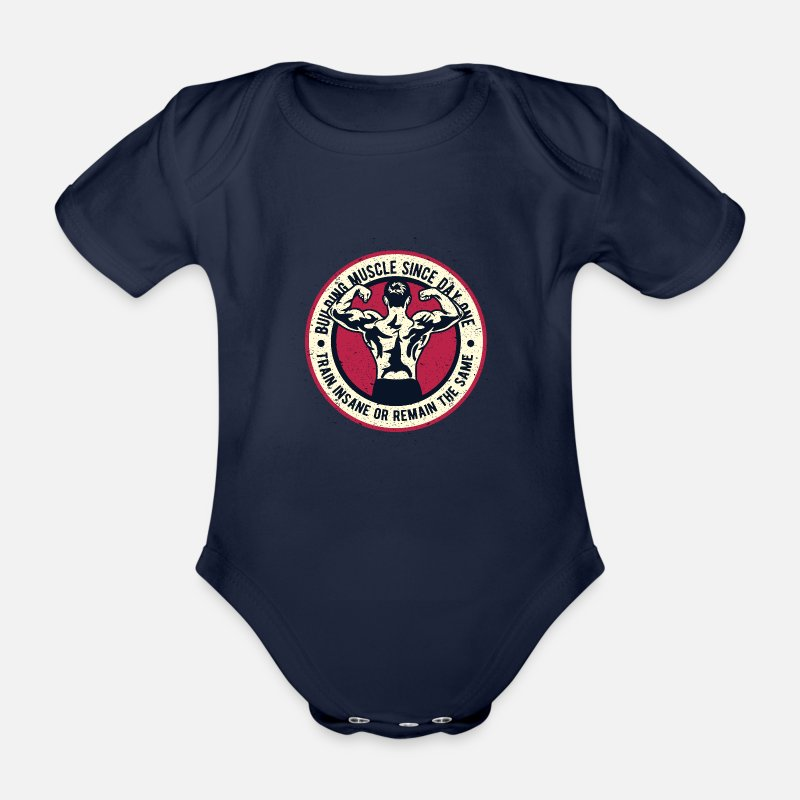 Body Building Baby Clothes - Building Muscle - Organic Short-Sleeved Baby Bodysuit dark navy