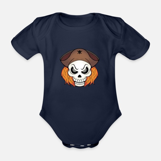 Skull And Bones Baby Clothes - pirate skull - Organic Short-Sleeved Baby Bodysuit dark navy