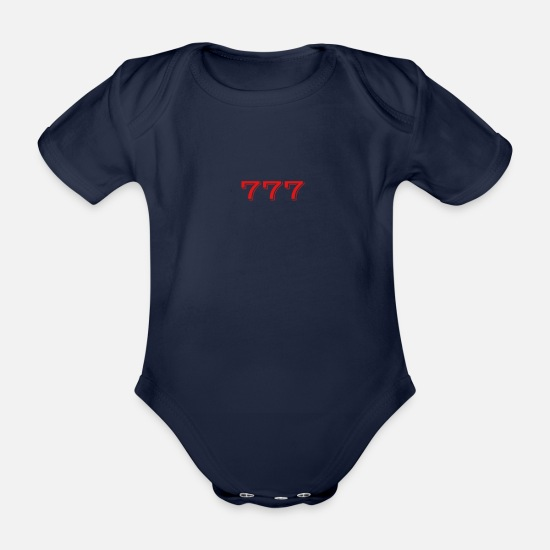 Gift Idea Baby Clothes - 777 - Luck - Lucky Number - Great gift idea - Organic Short-Sleeved Baby Bodysuit dark navy